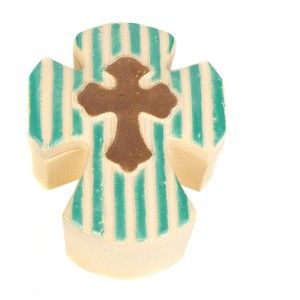 Blue Striped Ceramic Cross Box