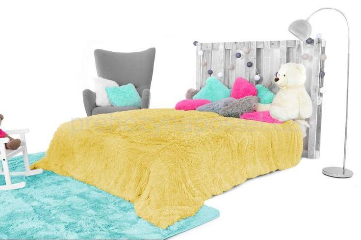 Chlupaté plyšové deky, přehozy v žluté barvě