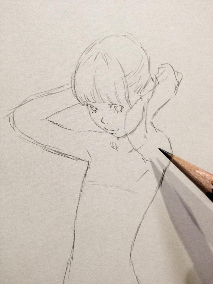 腕の位置を決めて、それに合わせて肩と胸筋を描く。