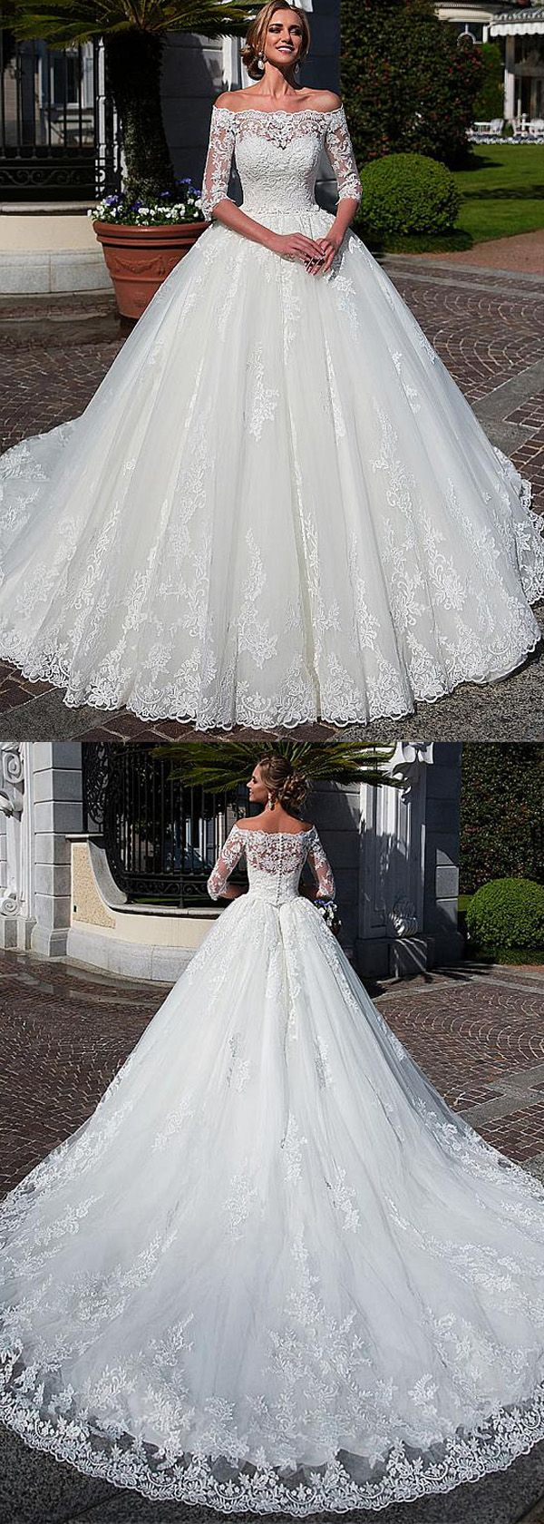 [253.20]  Attractive Tulle Off-the-neck Neckline Ball Gown Wedding Dress with Lace Appliques & Beadings & Detachable Jacket
