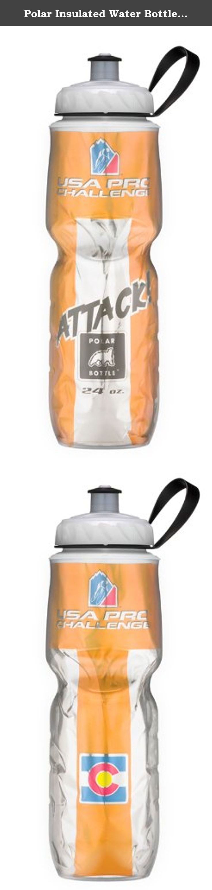 Polar Insulated Water Bottle (24-Ounce, USA Pro Cycling Challenge Orange Aggressive Rider Jersey). Polar Bottle is the original insulated plastic sport bottle and has been keeping liquids colder, longer, since 1994. The bottle has evolved in the years since with brightly colored foil liners and patterns and an innovative removable valve system. Made in America, Polar Bottle is popular throughout the world. Combining the thermal properties of an insulated vacuum bottle with the lightweight...