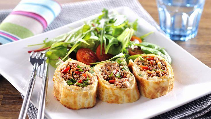 Perfekt mysmat! Krydda upp tacofärsen själv och servera i välfylld pannkaksrulle med ost.