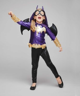 DC Super Hero Batgirl Costume For Girls - As tech-savvy Batgirl, you gotta have an outfit that works for a hero on the go. This cool one suits your needs -- the glittery hooded top has a built-in utility belt and plenty of stretch. Sequined bats and padded armbands sparkle.