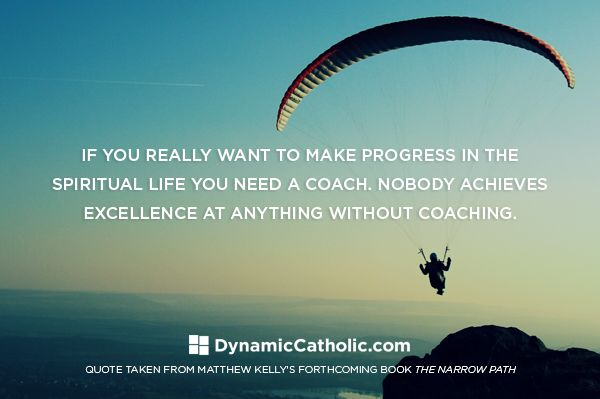 If you really want to make progress in the spiritual life you need a coach. Nobody achieves excellence at anything without coaching.