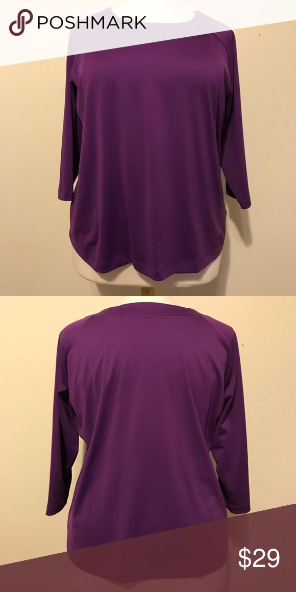 """EUC Susan Graver long sleeve sweatshirt 1X purple This top is in excellent condition. The top is a beautiful vibrant grape purple color. The material is 92% polyester and 8% spandex so it is machine washable. Approximate measurements are bust 48"""", waist 47"""", bottom hem 57"""", sleeve 17.5"""", bicep 14"""" and total length 26.5"""". Susan Graver Tops Tees - Long Sleeve"""