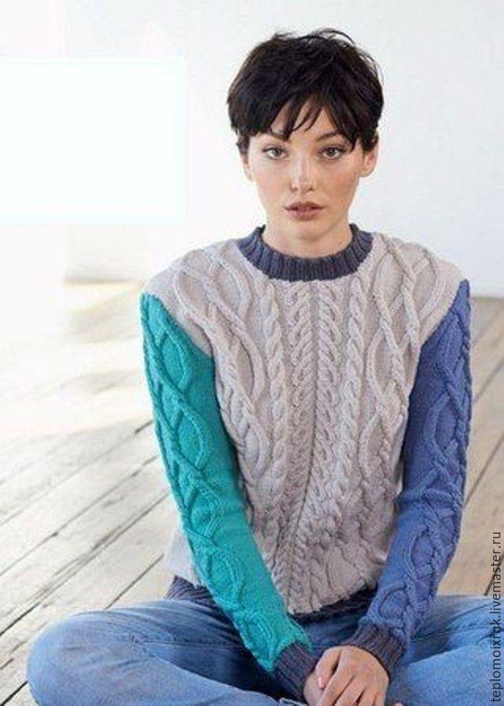 """Купить Свитер """" Original """" - комбинированный, свитер, вязаный, спицами, с косами, шерсть, полушерсть"""