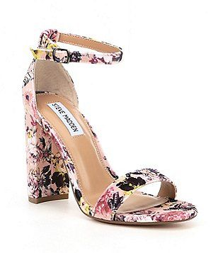 9cf3c38753f Steve Madden Carrson Floral Velvet Ankle Strap Block Heel Dress Sandals