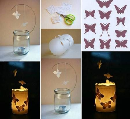 Foto tutorial: candela con farfalle riciclare barattolo di vetro - recicle jar candle with butterfly  [ greenME.it]