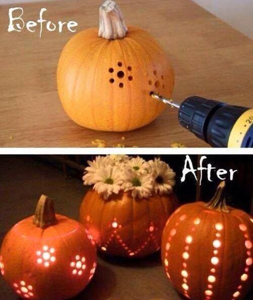 Drilling Designs into Pumpkins...these are the BEST Halloween Decorated & Carved Pumpkin Ideas!