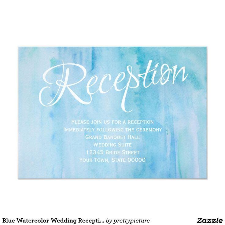 青い水彩画の結婚披露宴情報カード 8.9 X 12.7 インビテーションカード
