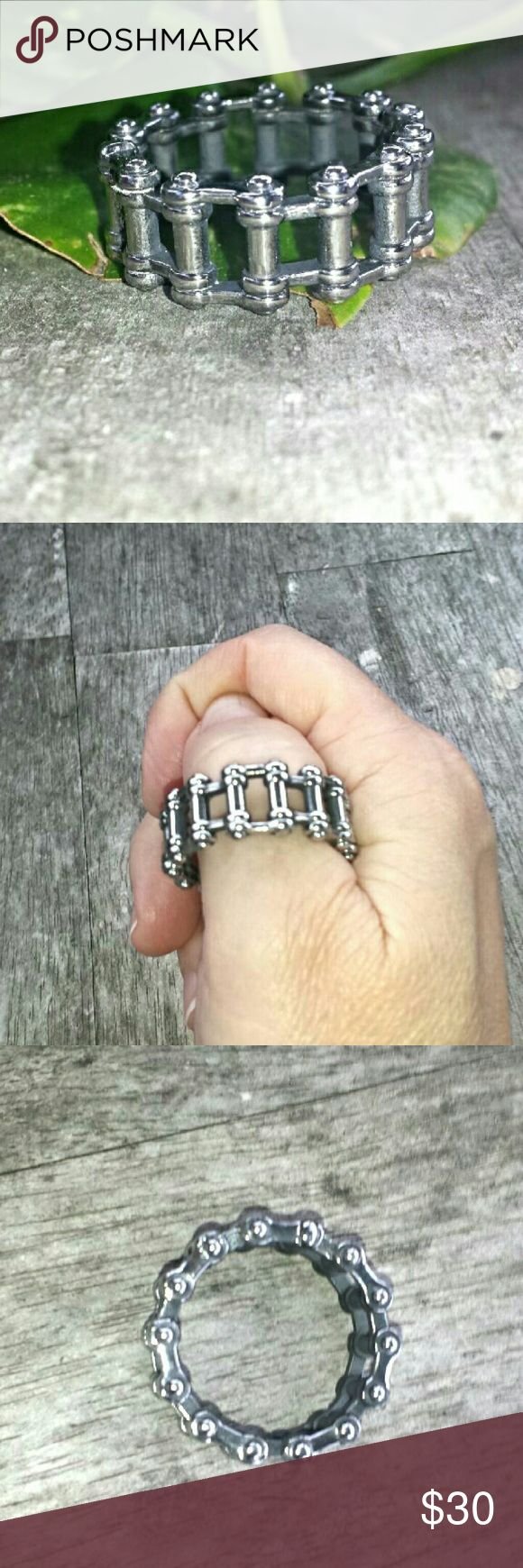 """Stainless Steel Chain Link/Biker Statement Ring This unusual ring measures 1/2"""" wide. It's made of chain links and is very sturdy. Makes a great gift! #0818 Accessories Jewelry"""