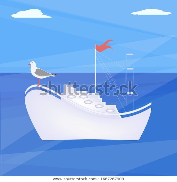 Sea Landscape Yacht Big Sea Gull Stock Vector Royalty Free 1667267908 In 2020 Big Sea Yacht Royalty Free