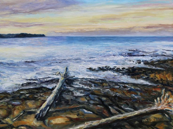 Terrill Welch  - Winter Late Afternoon Georgina Point Mayne Island BC   Sold