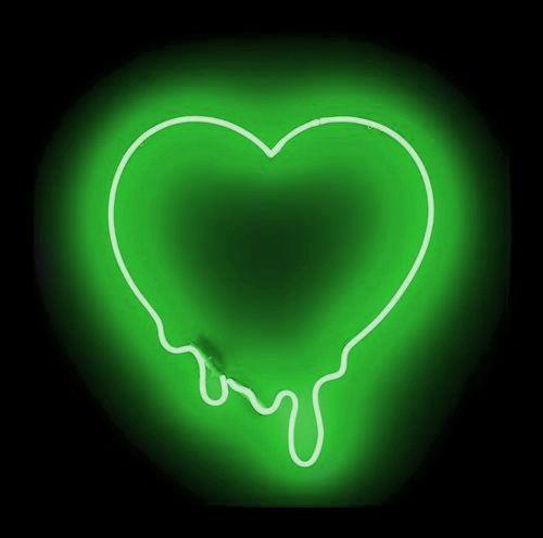 Green neon heart