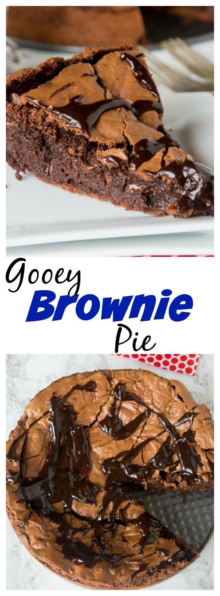 Gooey Brownie Pie – a gooey chocolate brownie with a crackly top baked into a pie and topped w