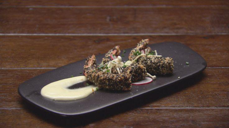Sesame and panko crumbed prawns with wasabi mayonnaise | Georgia Barnes | Masterchef Australia 2015
