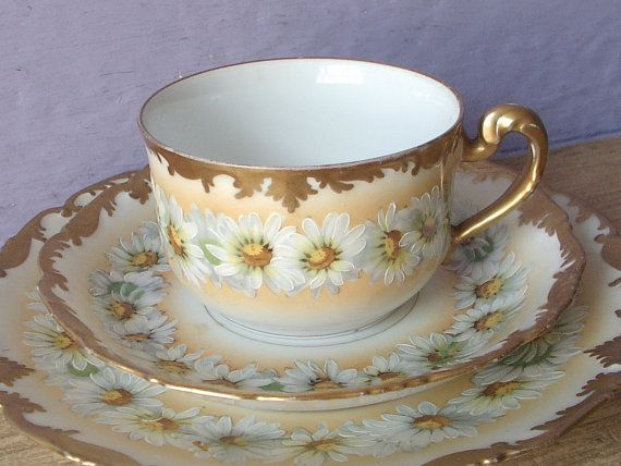 Antique TV Limoges France Tea Cup Trio, Hand Painted Tea Cup And Saucer  Plate Set