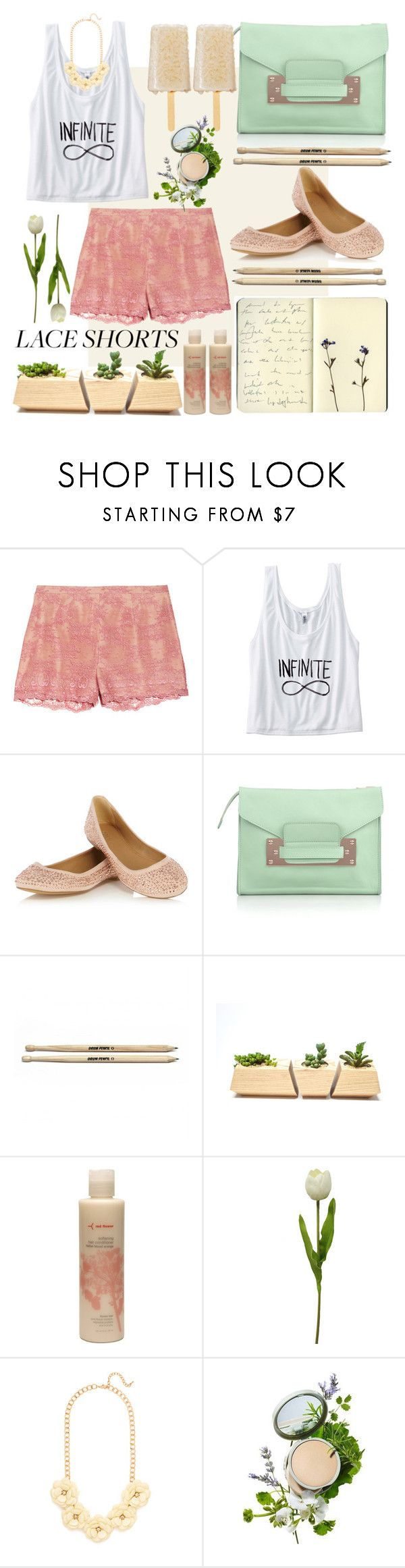 """How Do You Style Ultra-Fem Lace Shorts?"" by mary-domenech ❤ liked on Polyvore featuring RED Valentino, Oasis, Sophie Hulme, Moleskine, red flower, BaubleBar, Origins, contest and laceshorts"