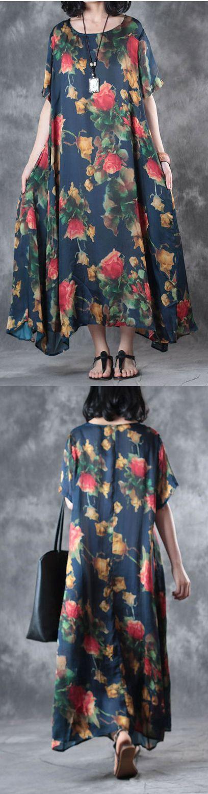 new blue print casual silk dresses hem sundress short sleeve maxi dress
