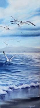 "Saatchi Art Artist ΑγγελικΗ  Aggeliki; Painting, ""Seagulls"" #art, 65X25cm, oil on canvas"