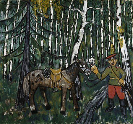 Larionov, Mikhail, (1881-1964), Soldier in a Wood, 1911, Oil