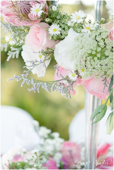 Flowers used in the center pieces on the pink table