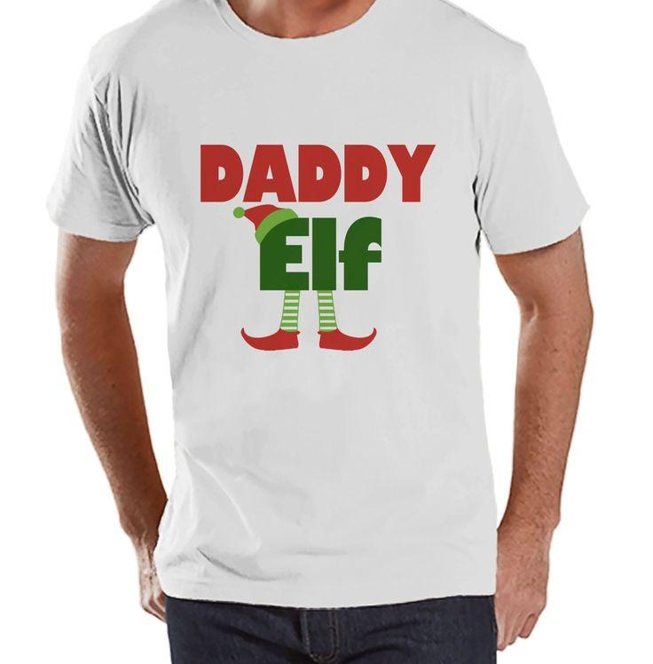 Daddy Elf - Christmas Elf - Funny Christmas Tee - Men's Christmas T-Shirt - Men's White T Shirt - Holiday Gift Idea - Christmas Shirt