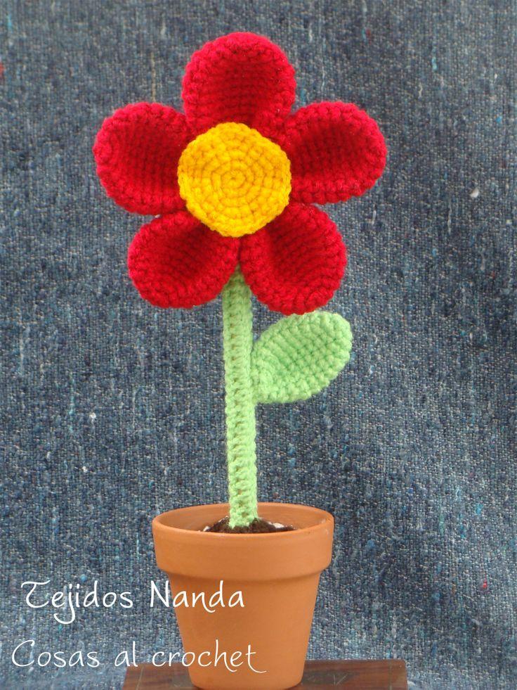 Flores tejidas al crochet en macetas de barro flores - Macetones de barro ...