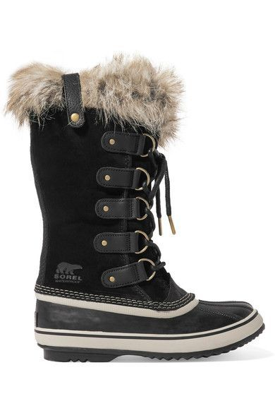 Sorel - Joan Of Arctic Waterproof Faux Fur-trimmed Suede And Rubber Boots - Black