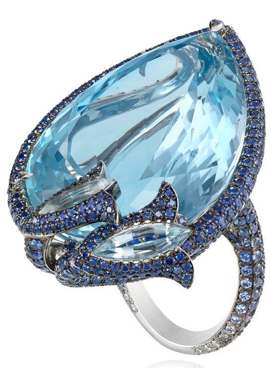 Chopard Aquamarine, Sapphire, and Diamond Ring