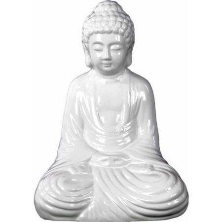 Urban Trends Collection: Ceramic Buddha Figurine, Gloss Finish, Gray, White