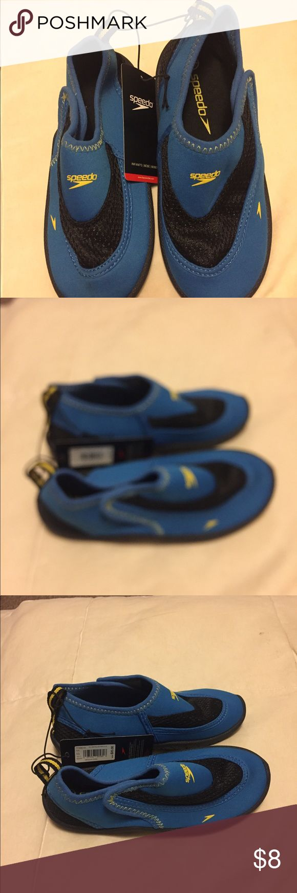 Boys Speedo water shoes Brand new Speedo water shoes for a toddler. Too big for my son. Tags are still on, never been worn. Velcro closure on the sides and rubber soles with traction. Size says 10/11 Speedo Shoes Water Shoes