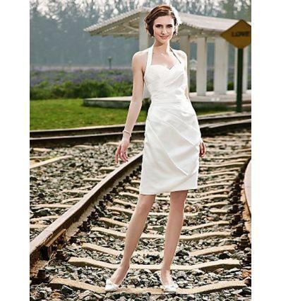 Mini robe de mariée en satin coupe droite col à l'américaine économique en vente online sur miamastore