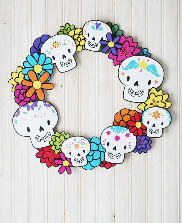 Printable Dia de los Muertos Wreath on Handmade Charlotte by Mol­lie Johan­son