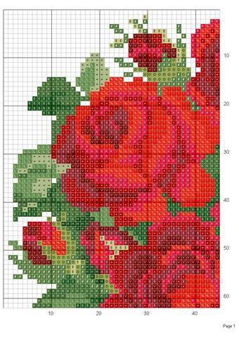 Rose heart c.stitch-upper left corner- #1 graph