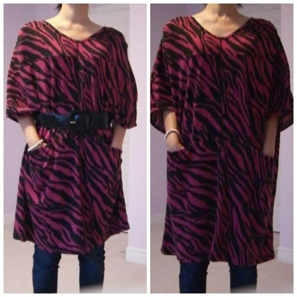 "Zebra Printed Cotton Blouse/ Dress. QTY:1 Length:33.5""  Bust:33-46""  Shoulder:13-17""  Sleeves:13"" Was:28  Now CAD$14 Note:Not Included Belt."