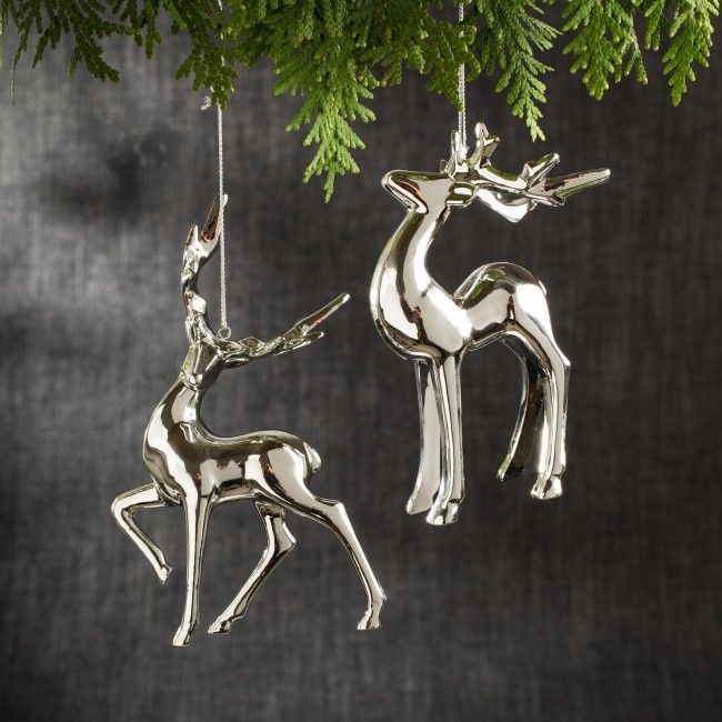 Create a modern and stylish Christmas tree with these elegant Reindeer ornaments.
