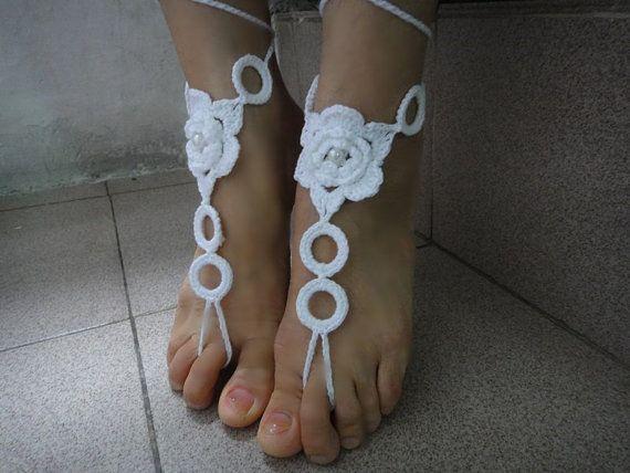 Loving This Tina Crochet Studio White Rosette Barefoot Sandals On