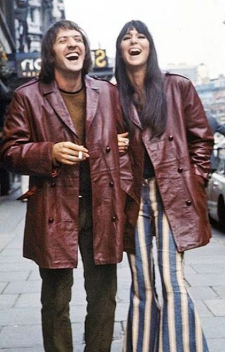Sonny & Cher in the 70s. in matching leather coats....