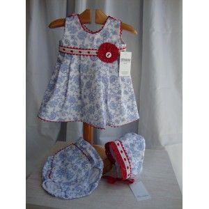 Vestido de Niña con estampado floreado. Vestido con braguitas y capota  a juego. De Picolettas