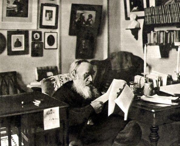 Leo Tolstoy (1828 – 1910) is working in his study in Yasnaya Polyana estate. 1909. #Leo_Tolstoy