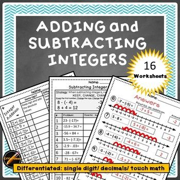 16 adding and Subtracting Integers worksheets with multiple strategies and degrees of difficulty. 6 worksheets using a number line and 10 worksheets using strategies without a number line and 3 levels of numbers(single digit, double digit with decimals, and Touch Math numbers.