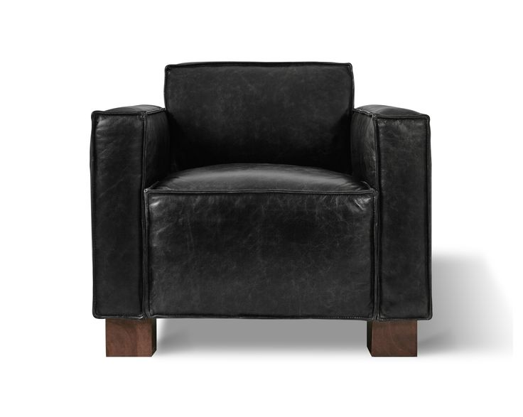 The Cabot Chair Features A Tight Seat And Back, With Architectural, Wood  Block Feet