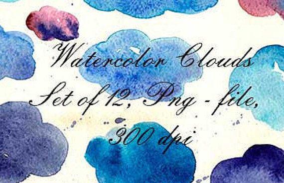 Watercolor Splotches Watercolor Clip Art от VectorGraphicArts