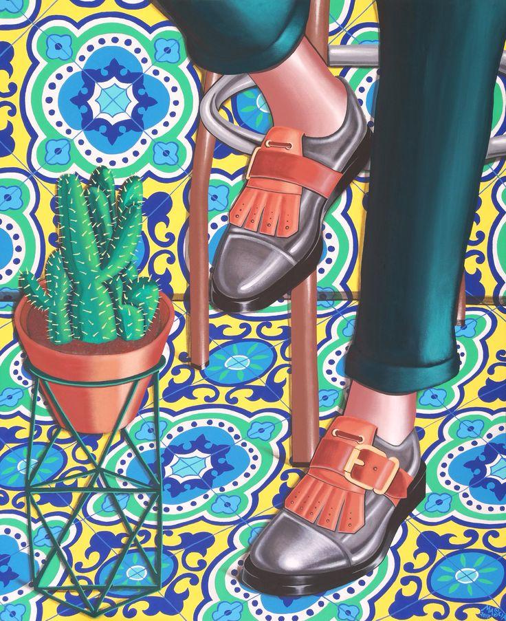 Un incontro a Capri acrylic on canvas 80x100 cm 2017