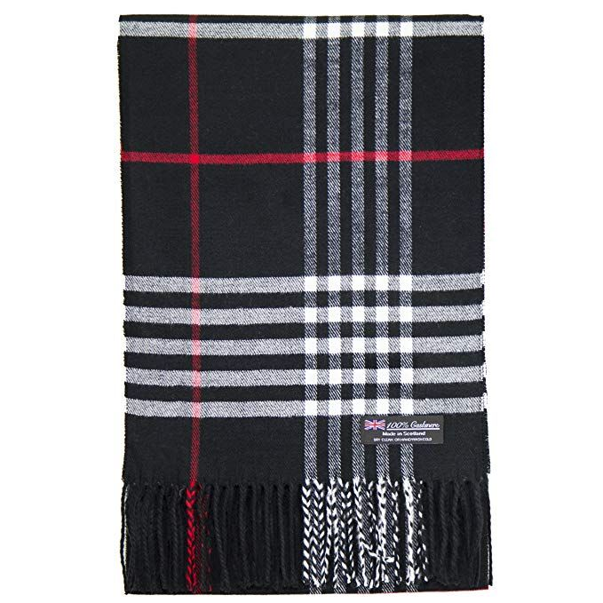 Black//Red//Gray New 100/%CASHMERE SCARF MADE IN SCOTLAND PLAID DESIGN SOFT UNISEX
