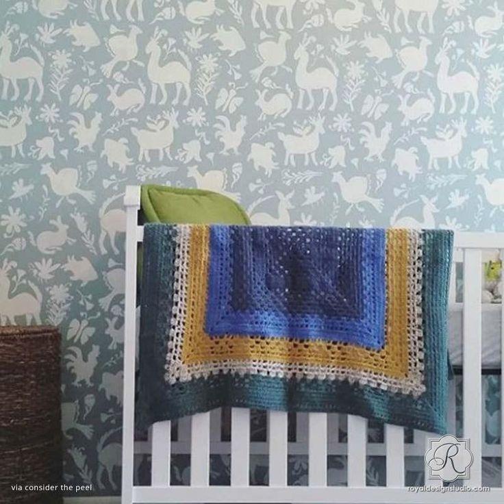 Folk Retro Vintage Nursery Decor Ideas - Otomi Folk Art Wallpaper Wall Stencils for Painting - Royal Design Studio