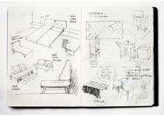 The Lisbonaire Apartments, in Lisbon, available for holiday rental. Furniture sketches, by Pedrita.