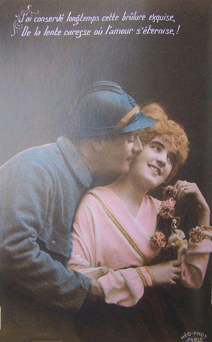 Carte postale de poilus; 1914 1918.