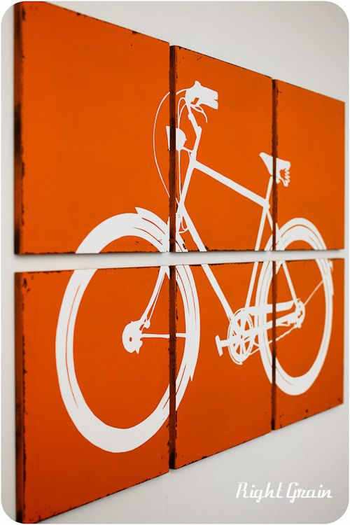Large Bike Wall Art - The Distressed Retro Bicycle Screen Print by RightGrain. $165.00, via Etsy.